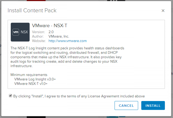 NSX-T Log Insight Content Pack