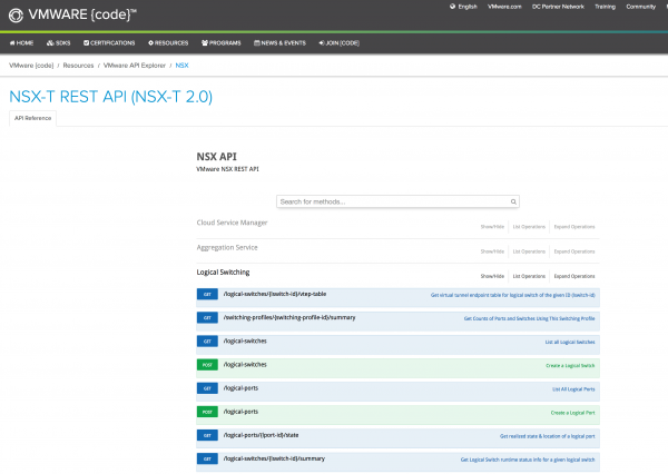 VMware API Explorer for NSX-T 2.0 on code.vmware.com