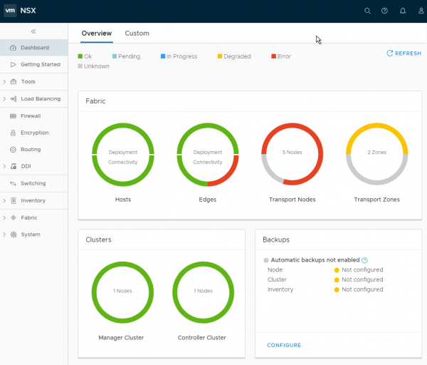 NSX-T 2.1.0 New Dashboard