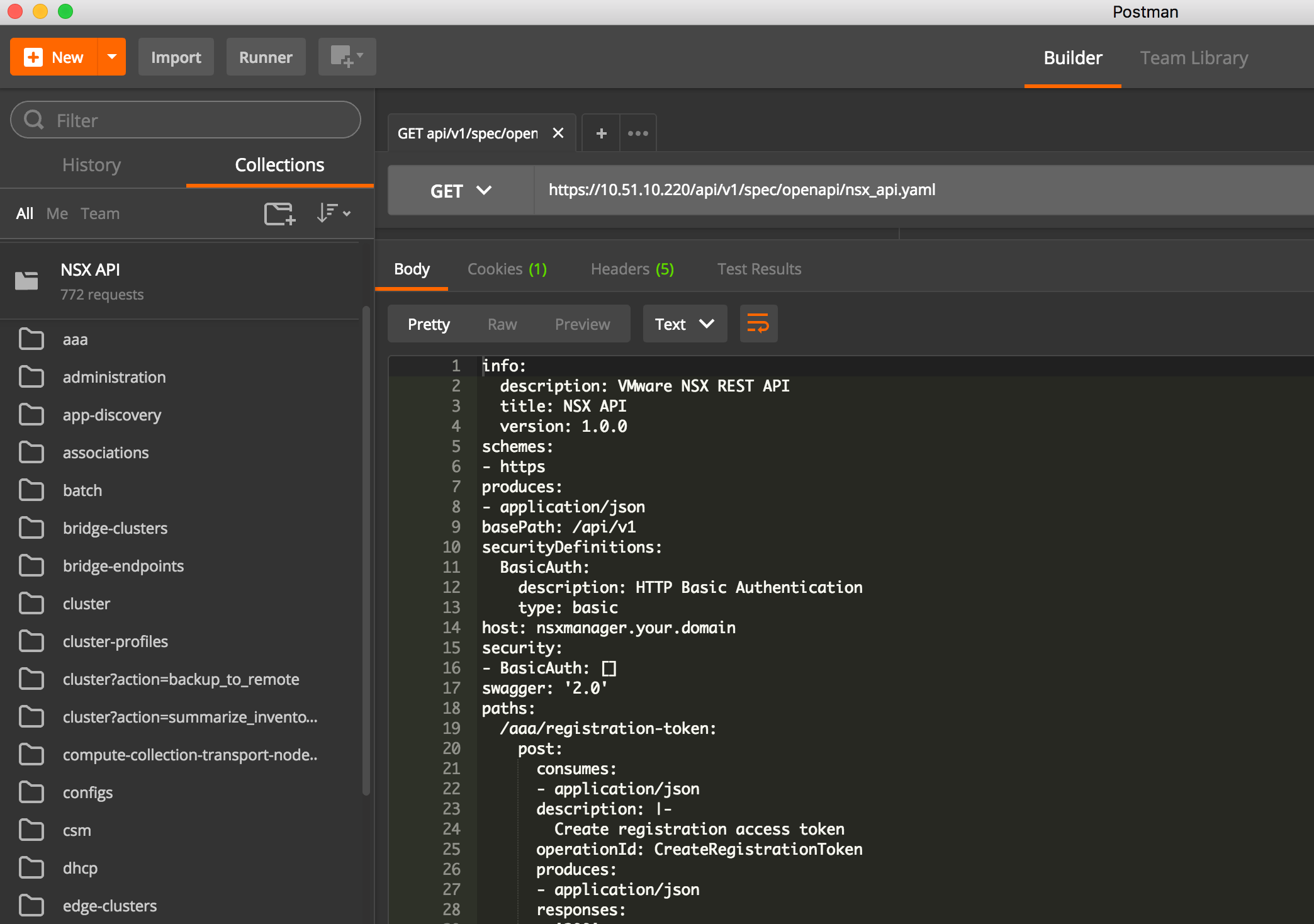 NSX-T API: Embedded Documentation and Postman Collection