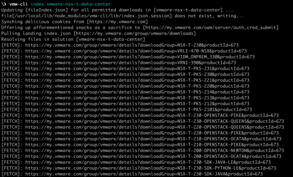 Index product binaries from my.vmware.com using command-line