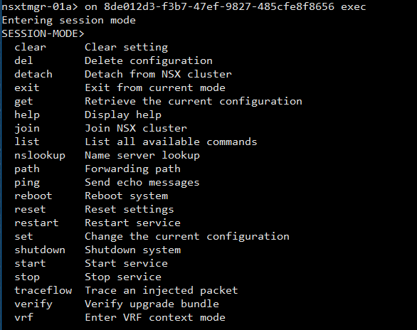 NSX-T Central CLI: Session Mode