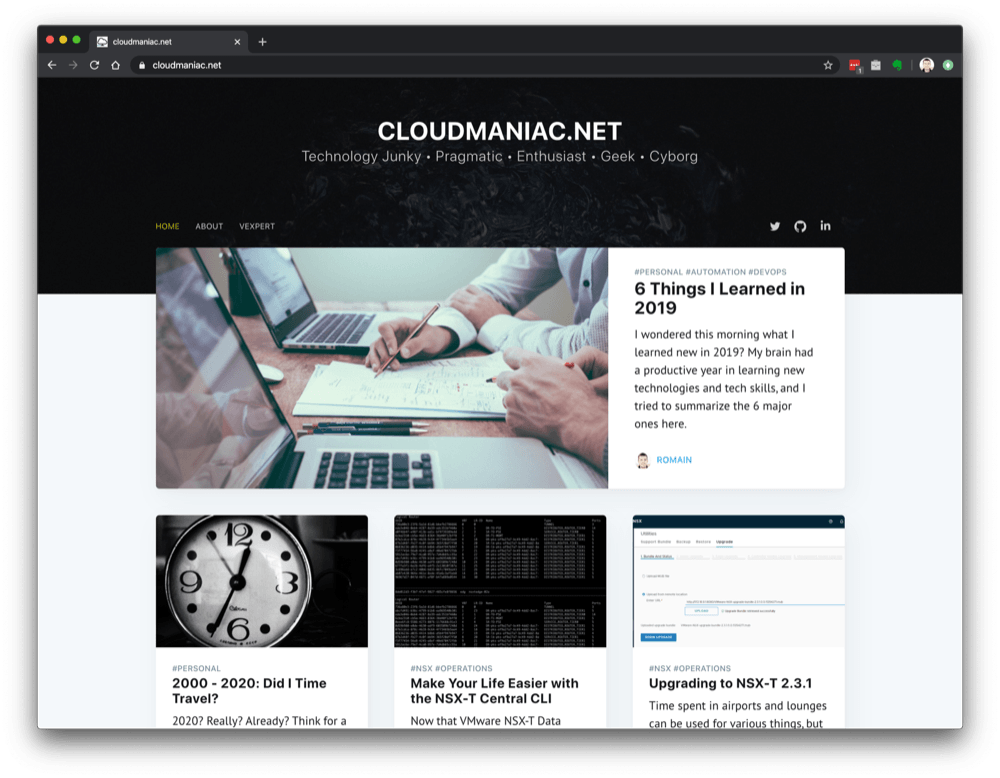 cloudmaniac.net homepage - circa April 2020